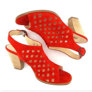f504f3883bb Paul Green Shoes - New PAUL GREEN Red Laser Cut Suede Heels UK5 US7.